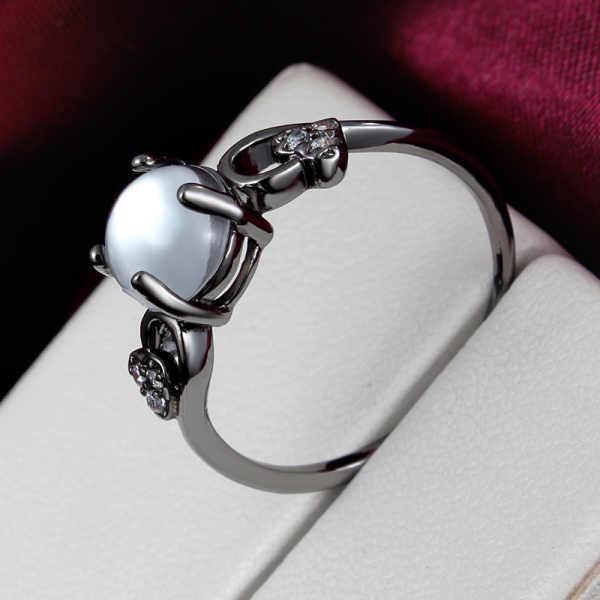 Элегантный стиль черный овальный белый опал Циркон Мода палец кольца, свадебные украшения женщин подарок размер 6,7, 8,9