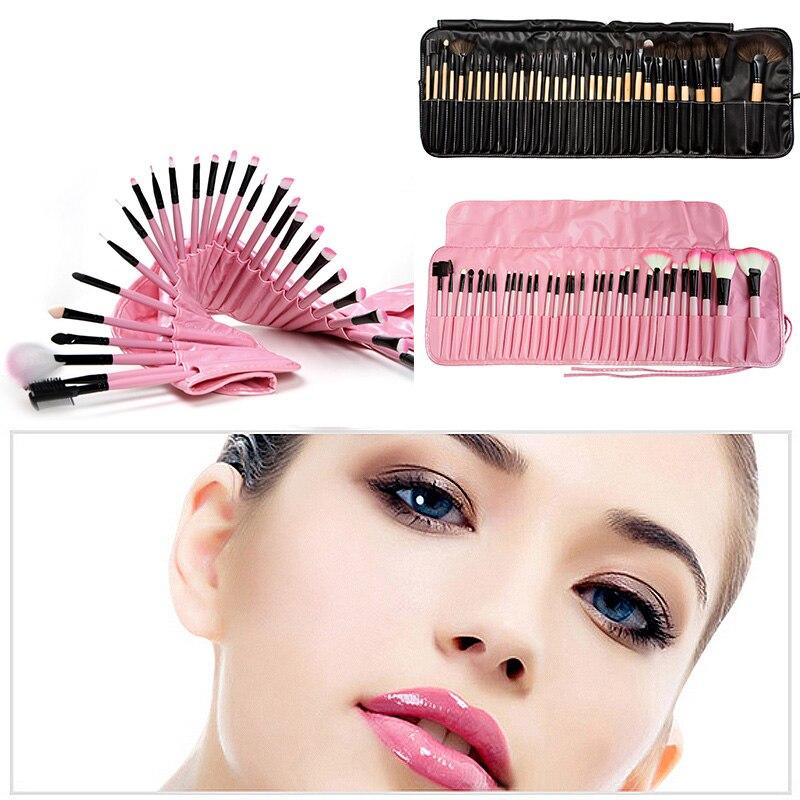 LEARNEVER 32 pcs Superior Soft Cosmetic Makeup Brush Set Kit Pouch Case Cosmetic Brush Set Case Nature Bristle Make Up Brushes цена и фото