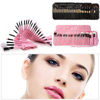 32pcs Superior Soft Cosmetic Makeup Brush Set Kit Pouch Case Cosmetic Brush Set With Case Nature