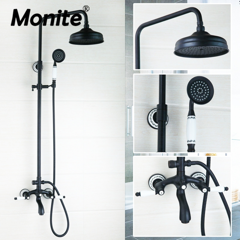 Round 50267 New Bathroom Oil Rubbed Bronze Swivel 8 Rainfall Shower Head +Heldhead Shower Faucet Set Bathtub Mixer Tap Torneira black oil rubbed bronze 8 inch round rainfall rain bathroom shower head new wsh003