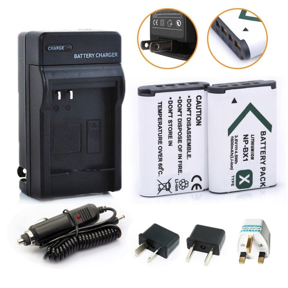 Nueva batería 2x1600 mAh NP-BX1 batería NPBX1 NP BX1 + Kit de cargador de coche para Sony Cámara HDR-AS100v AS30v HX50 DSC-RX100 HX400 WX350