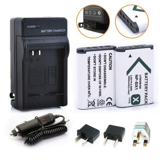 Nueva bateria 2 X 1600 mAh NP-BX1 batería NPBX1 NP BX1 + Kit de cargador de coche para Sony cámara HDR-AS100v AS30v HX50 DSC-RX100 HX400 WX350