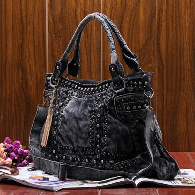 ФОТО 2017 New Fashion Rivet Women jean Bag\handbag ,ladies' cool Denim bag\shoulder bag\Messenger Bag~13B140