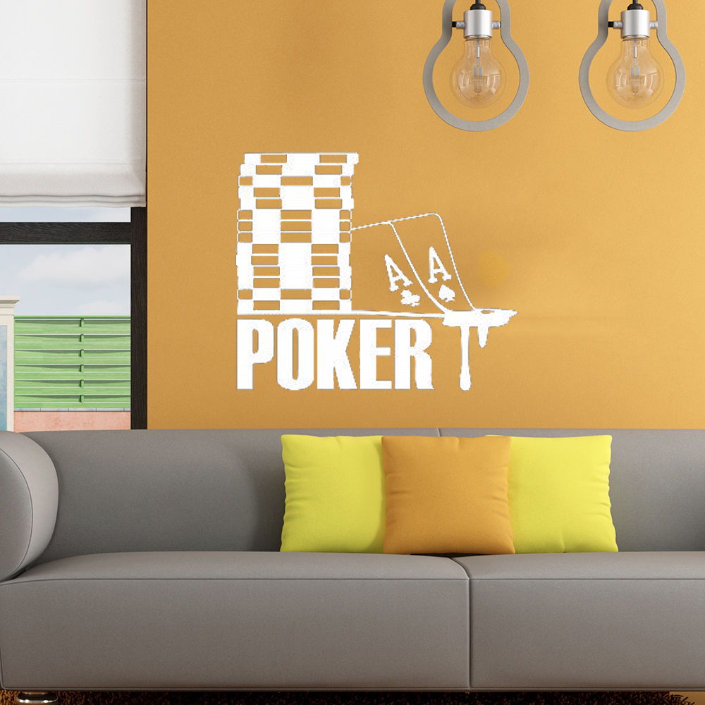 Vinyl Decal Poker Sign Chips Cards Suits Casino Gambling Wall Art ...