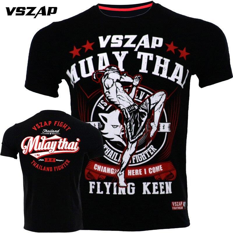 VSZAP Kampf Sanda Boxen MMA T Shirt Gym Tee Shirt Kampf Bangkok Jiu Jitsu Fitness Training Muay Thai T-shirt Männer Homme