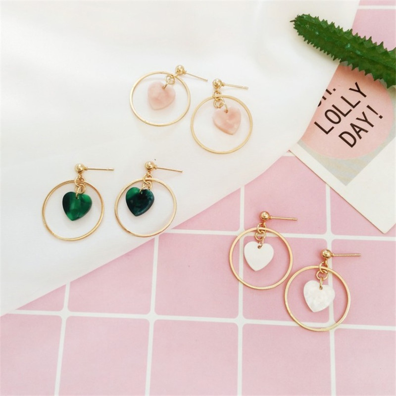 2018 Heart-Shaped Geometric Round Earrings Japan and South Korea Acetic Acid Girl Wild Wave Earrings Female Jewelry Wholesale