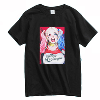 Mens Casual 2016 Movie Suicide Squad Poster Harley Quinn Short Sleeve Cotton O Neck Print Pattern
