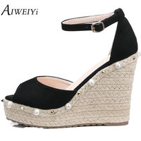 AIWEIYi Women's Wedge Sandals Pearl Woman High Heels Sandals Summer Shoes Woman Ankle Strap Black Apricot Ladies Wedding Shoes