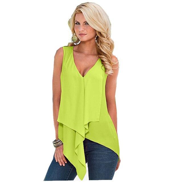 869a7c51fd82ce Women s fashion sexy Neon green chiffon tank top vest 2017 summer female  sleeveless tops women t-shirts t-shirt 25