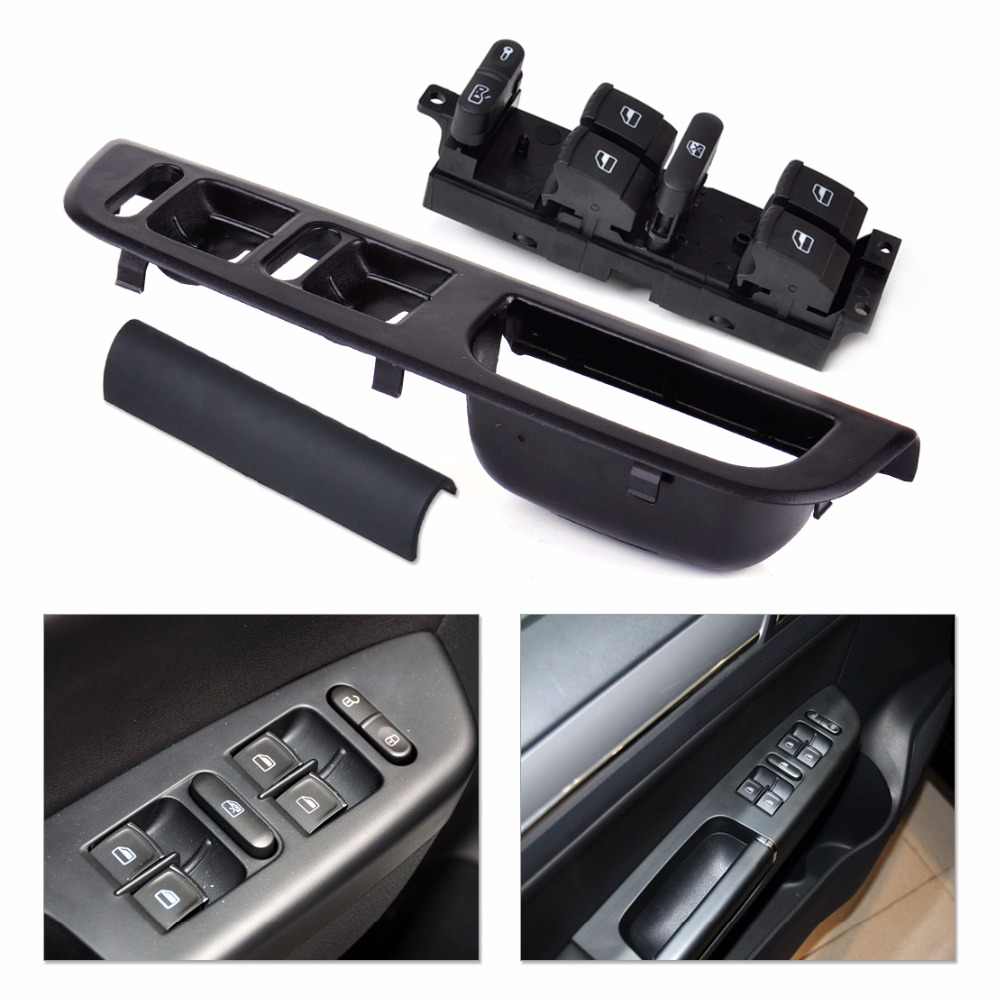 n new car master window switch panel panel bezel interior handle trim trim cover set for vw. Black Bedroom Furniture Sets. Home Design Ideas