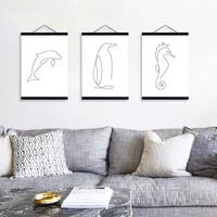 Abstract Picasso Minimalist Animal Dolphin Penguin Wooden Framed Canvas Paintin Nordic Home Decor Wall Art Print