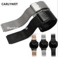 18mm Silver Black Mesh Milanese Loop Steel Bracelet Wrist Watch Band Strap Belt Double Push Clasp