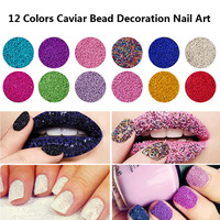 ROSALIND 12 Colors Mini Bean Fashion Nail Art Micro Caviar Beads Pearl Decorations Tips 3D UV Gel DIY Manicure Acrylic Nail Tool