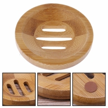 Natural Wood Soap Tray Holder Round Shape Container Storage Bathroom Stand Rack JUL11