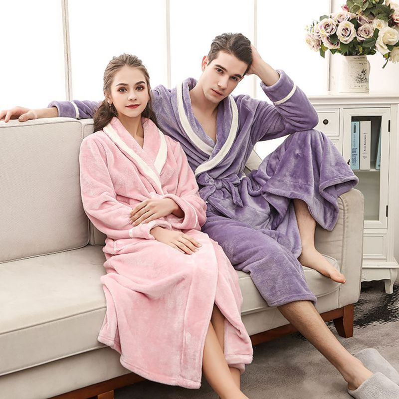 Women Flannel Bath Robe Sleepwear Winter Solid Plush Couple Bathrobe Thick Warm Female Robe