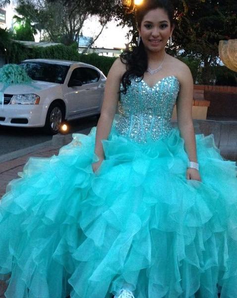 Princess Ball Gown Aqua Quinceanera Dress 2019 Sweet 16 Dresses Beaded Sequin Sweetheart Debutante Gown Plus Size vestidos de 15