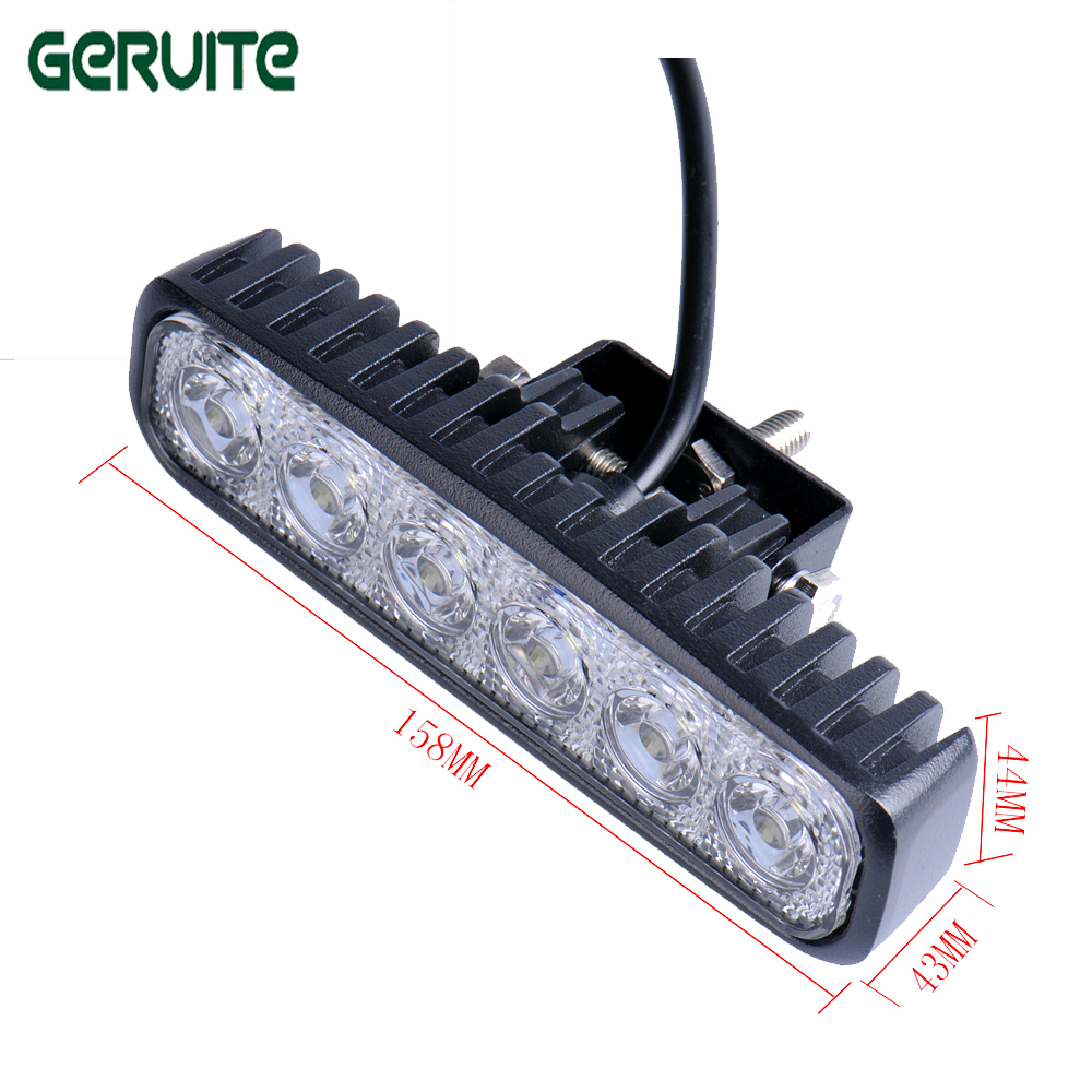 2 pezzi / lottp 6 pollici 18 W 12V LED Car Light Spot Flood Fendinebbia per fuoristrada camion ATV 4x4 LED Driving Light