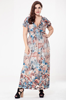 Big size 6XL 2019 Summer Woman dress Casual loose butterfly printed long dresses plus size Fat MM women clothing 6xl beach dress