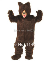 mascot Long Fur Dark Brown Grizzly Bear Mascot Costume Adult Size Mascotte Outfit Suit Party Carnival Fancy Dress FREE SHI