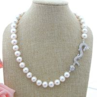 natural 10mm White sea shell Pearl Necklace CZ dragon Clasp 20
