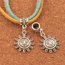 Universal Sun Big Hole Beads 100PCS Antique Silver Dangle Fit European Bracelets Jewelry DIY B199 31.5x16mm frog charm beads 30 8x15 6mm 100pcs antique silver dangle fit european bracelets jewelry diy b167
