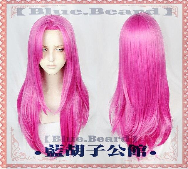 Anime  JOJOs Bizarre Adventure Golden Wind Diavolo Wigs Long Rose Red Heat Resistant Synthetic Hair Cosplay Wigs + Wig Cap