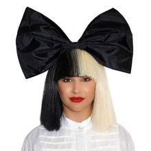 Sia Wig Half Black Half Blonde Short Straight Flat Bangs Heat Resistant Synthetic Hair Cosplay Wigs + Wig Cap + Big Bowknowts(China)
