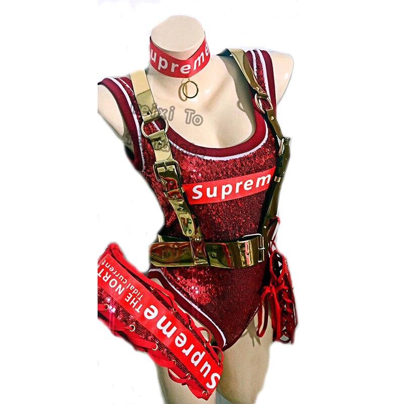 The Glitter Red Letter Leisure Sports Join Bar Nightclub Concert Singer Dancer Costume