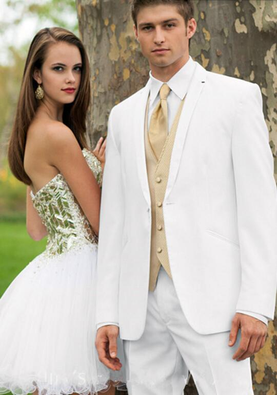 Custom Made 3 Pieces Men Suits White Men Suits Wedding Groom Suit
