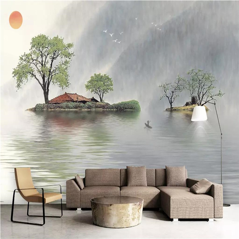 Custom 3d wallpaper new Chinese style mood reflection fresh ink landscape sofa background wall large mural