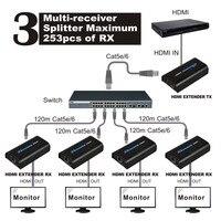 Hdmi 익스텐더 120 메터 이더넷 tcp/rj45 cat5 cat5e cat6 HDMI 분배기 hdmi 익스텐더 송신기 수신기 hd DVD PS3
