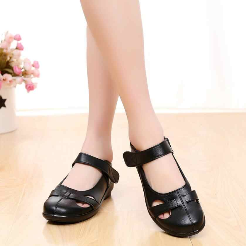 09b9fcc902611b fashion Hollow out Genuine leather sandals flat summer shoes Soft bottom  Women comfortable sandals Mother shoes