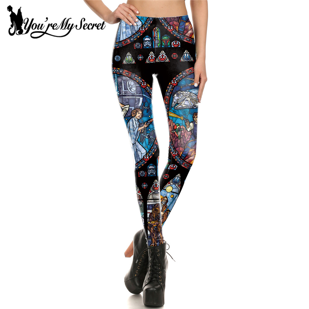 [You're My Secret] Comic Cosplay Star Wars Slim Girl's Leggings Women Digital Print Leggins Workout Fitness Pants Legging