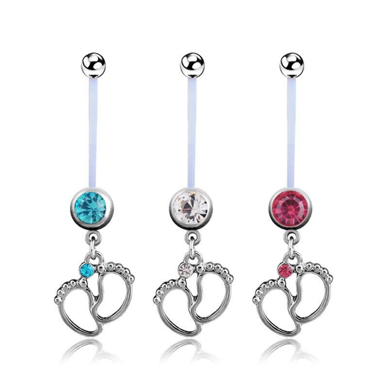 1pcs mulheres maternidade pés do bebê umbigo umbigo botão anéis de aço cirúrgico balançando em piercings jóias do corpo