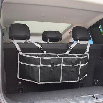 автомобильный органайзер на заднем сиденье | Органайзер для багажника автомобиля, сумка для хранения на заднем сиденье, сетчатая Большая вместительная многофункциональная карманная п...