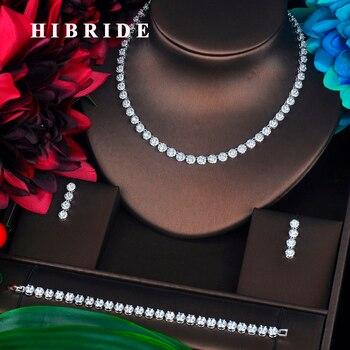 Conjuntos de joyería de circonita cúbica transparente de moda HIBRIDE para mujer accesorios de vestido de novia pendientes pulsera collar conjuntos N-308