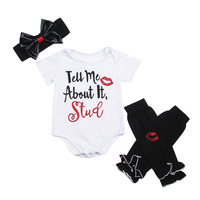 3pcs Baby Girls Toddlers Letter Print Bodysuit Jumpsuit Leg Warmer Heandband 3PCS Baby Set For Girls