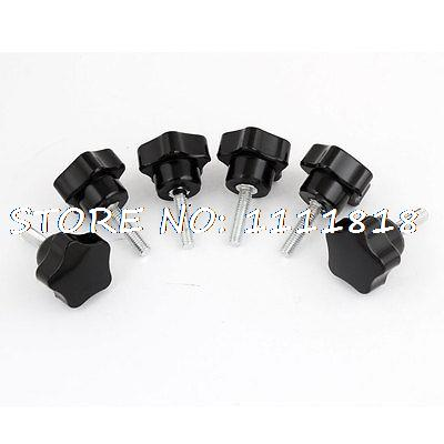 6 x Black 6mm x 25mm Clamping Screw On Type Knob Grip 1.26 Star Head Dia 20pcs m3 6 m3 x 6mm aluminum anodized hex socket button head screw