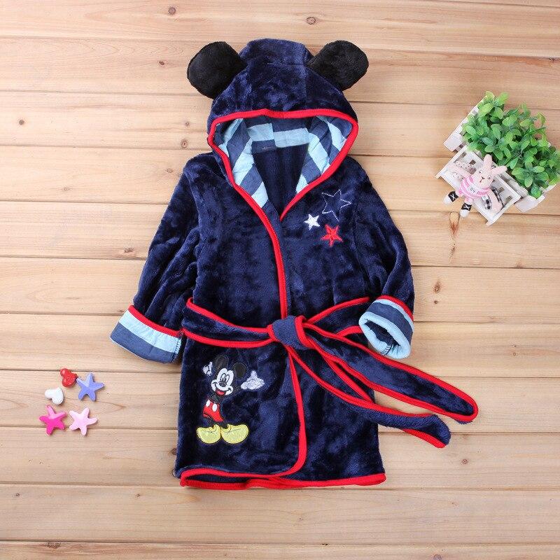 Baby Badjas Voor Meisjes Cartoon Print Minnie Mickey Kinderen Badjas Coral Pyjama Warm Infant Kinderen Kleding Jongens Gewaden 2-6y Duidelijk En Onderscheidend