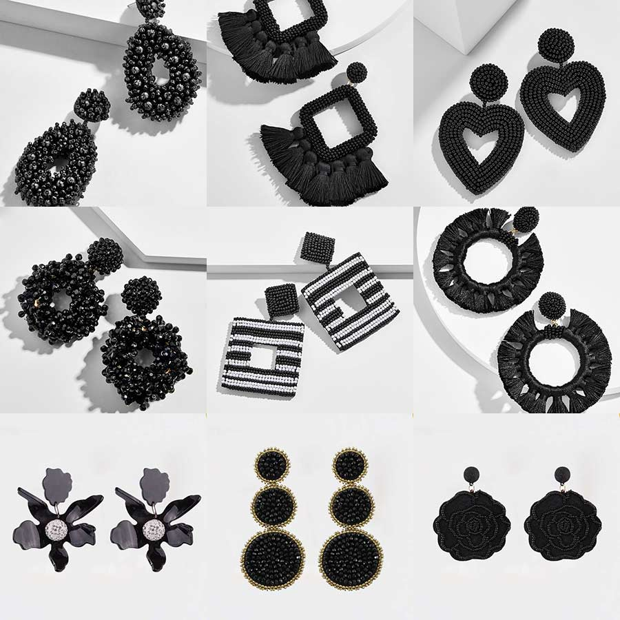Dvacaman Earrings Jewelry Beads Handmade Bridal-Party Black Women Trendy Niche Big-Statement