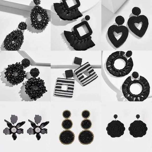 Dvacaman ручной работы черные бусины Серьги женские ниши модные барочные висячие серьги большие сережки Ювелирные украшения для свадебной вечеринки