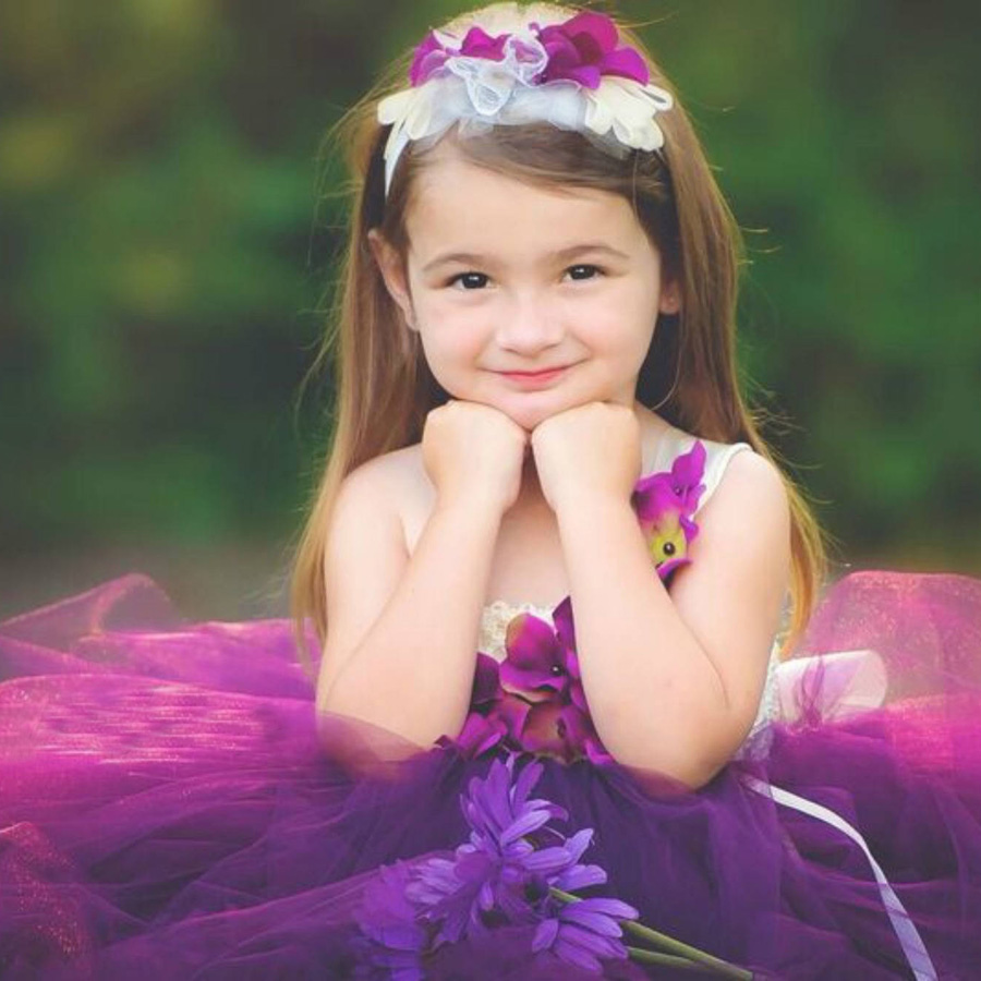 Girls Plum Flowers Wedding Tutu Dress with headband Children Summer Handmade Tulle Costume (9)