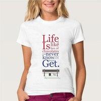 Topjini Plus Size Life Is Like A Box Of Chocolates Letter Print Women T Shirts Plus