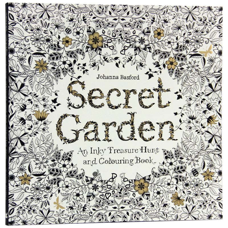 96 Pages English Secret Garden Coloring Books For Adults