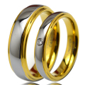 1 Pair Gold Plated Tungsten Rings Set with CZ Stone for His & Her Promise Wedding Band 4mm for Women 6mm for Men TU045RW