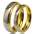 1 par banhado a ouro tungsten anéis conjunto com pedra cz para o seu & a Promessa de Casamento da Faixa 4mm para As Mulheres 6mm para Homens TU045RW