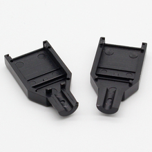 10pcs Type A Female USB 4 Pin Plug Socket Connector With Black Plastic Cover
