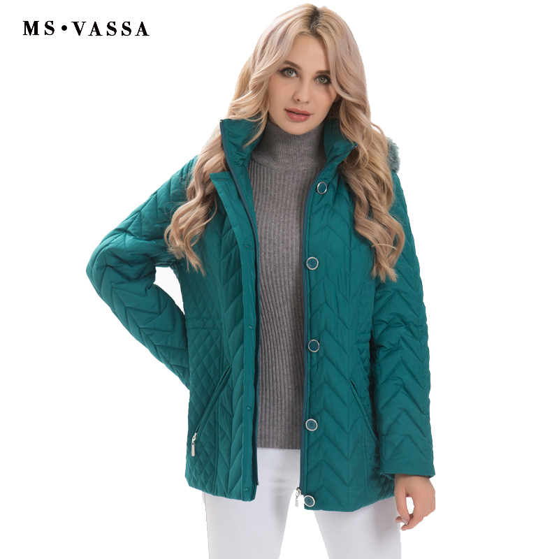 MS VASSA Plus size   Parkas   Women 2018 New Winter Autumn Ladies padding Jackets detachable hood with nice faux fur big size 5XL