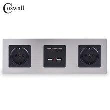 COSWALL Panel de acero inoxidable de doble pared con enchufe, enchufe europeo de 16A, puerto de carga inteligente USB Dual, salida de 5V 2A, Color negro