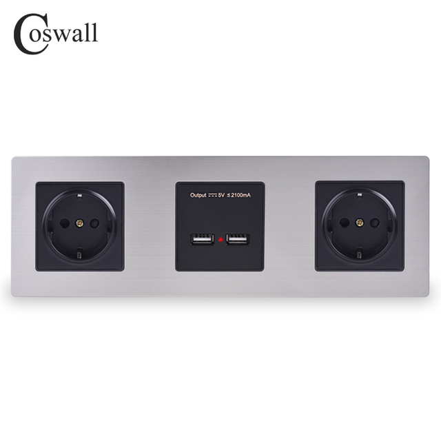 COSWALL Wall Stainless Steel Panel Double Socket 16A EU Electrical Outlet Dual USB Smart Charging Port 5V 2A Output Black Color